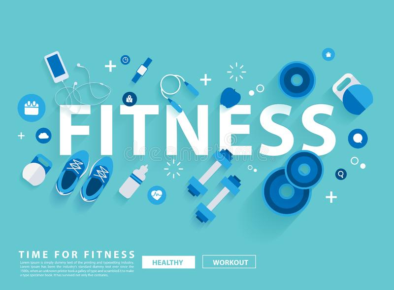 Fitness concept workout with equipment. Vector illustration modern layout template flat design royalty free illustration