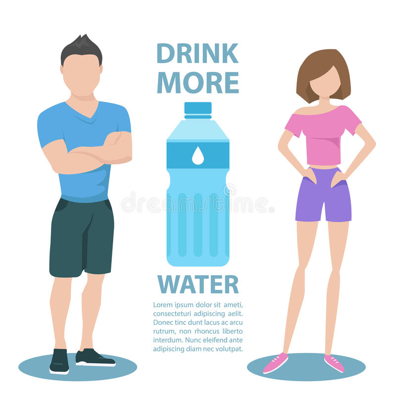 Fitness couple with inscription Drink more water. Healthy lifestyle concept. stock illustration