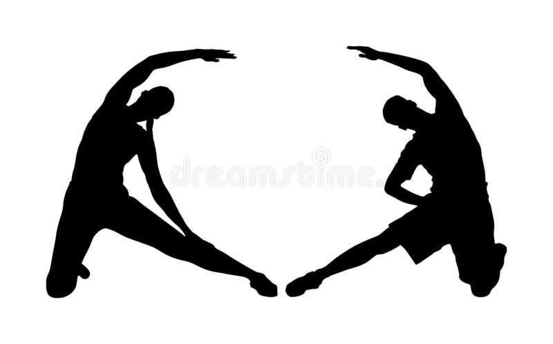 Fitness couple, woman and man exercise on training in gym  silhouette. Losing weight bodybuilder. Personal trainer. royalty free stock photos