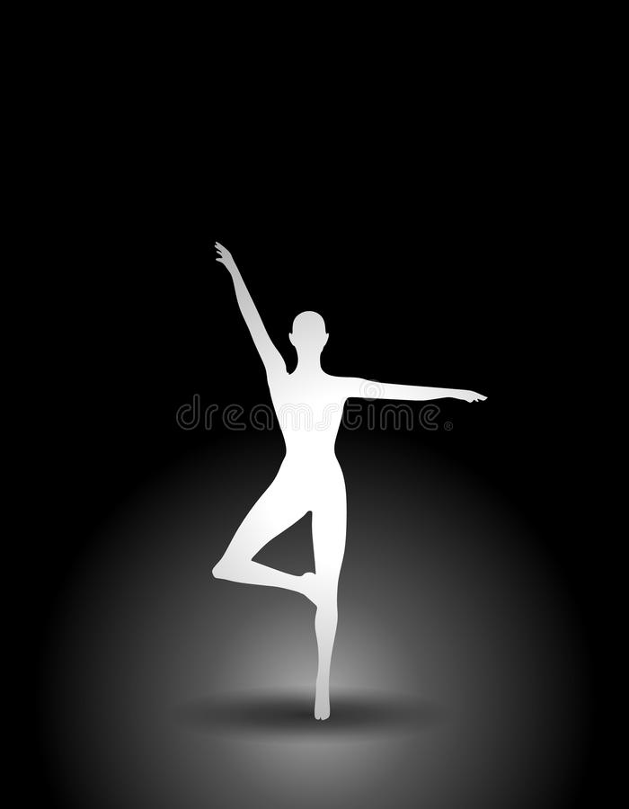 Fitness or Dancer Silhouette. A white silhouette set against a black background relating to dance or fitness royalty free illustration