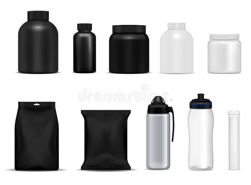 Fitness de Pakketten van Sportflessen vector illustratie