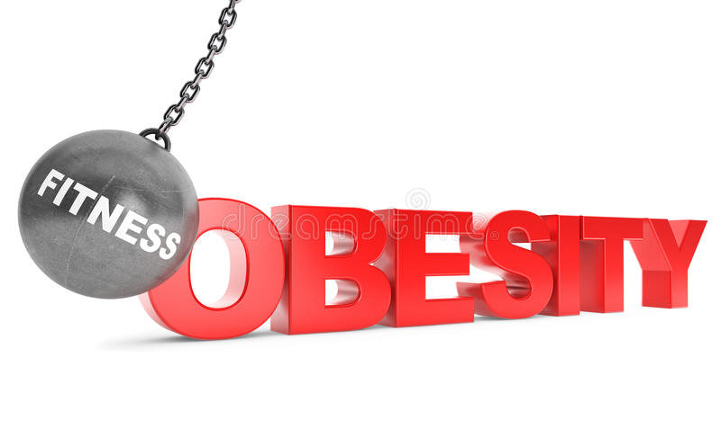 Fitness Destroy Obesity Concept. Wrecking Ball as Fitness with royalty free stock photography