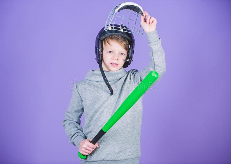 Fitness diet brings health and energy. Sport game. Gym workout of teen boy. child sportsman. Baseball bat and helmet. Success. Childhood activity. Concentrated royalty free stock images