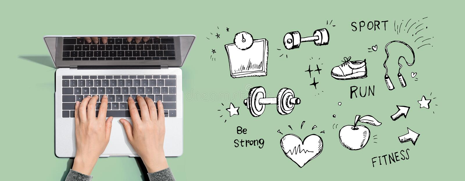 Fitness and diet with person using laptop computer. Fitness and diet with person using a laptop computer stock illustration