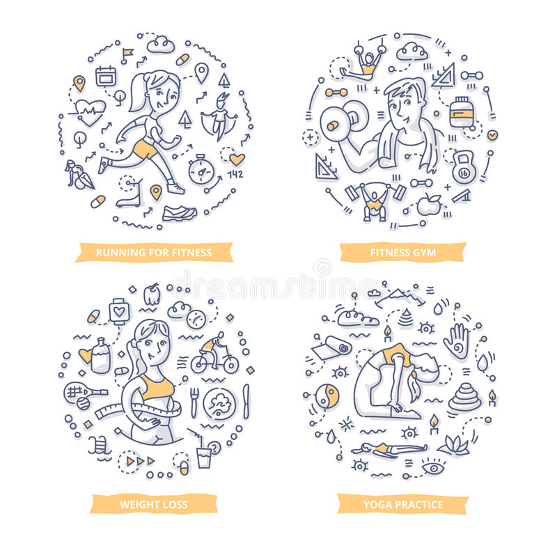 Fitness Doodle Illustrations royalty free illustration