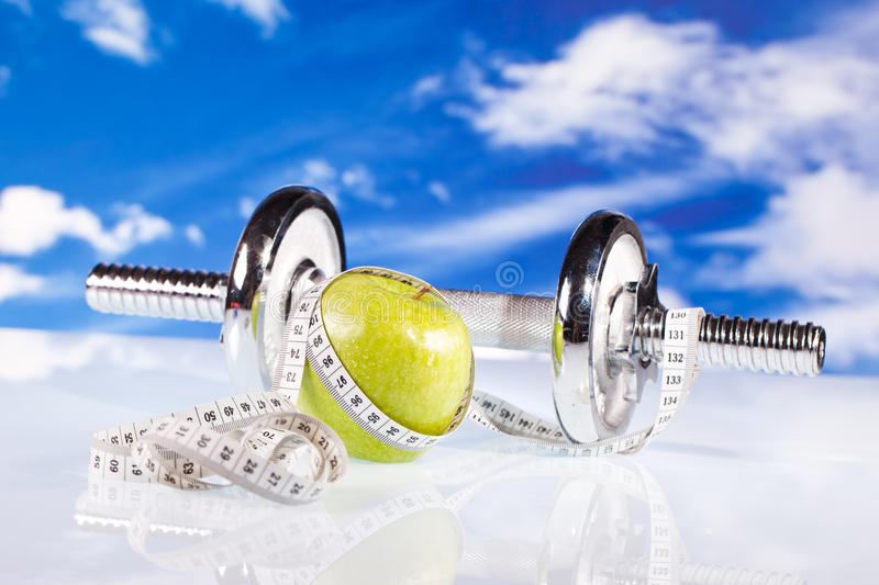 Download Fitness Dumbbells And Apple Stock Image - Image: 24745373