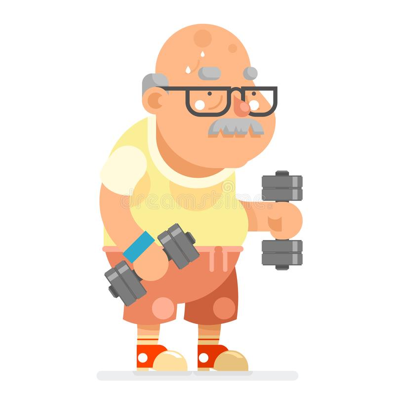 Fitness Dumbbells Exercises Grandfather Adult Healthy Activities Old Age Man Character Cartoon Flat Design Vector vector illustration