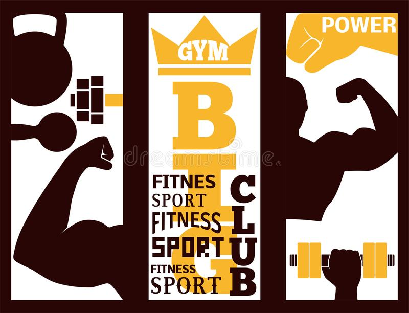 Fitness flayer brochure layout card design gym sport club strong equipment silhouette vector illustration. stock illustration