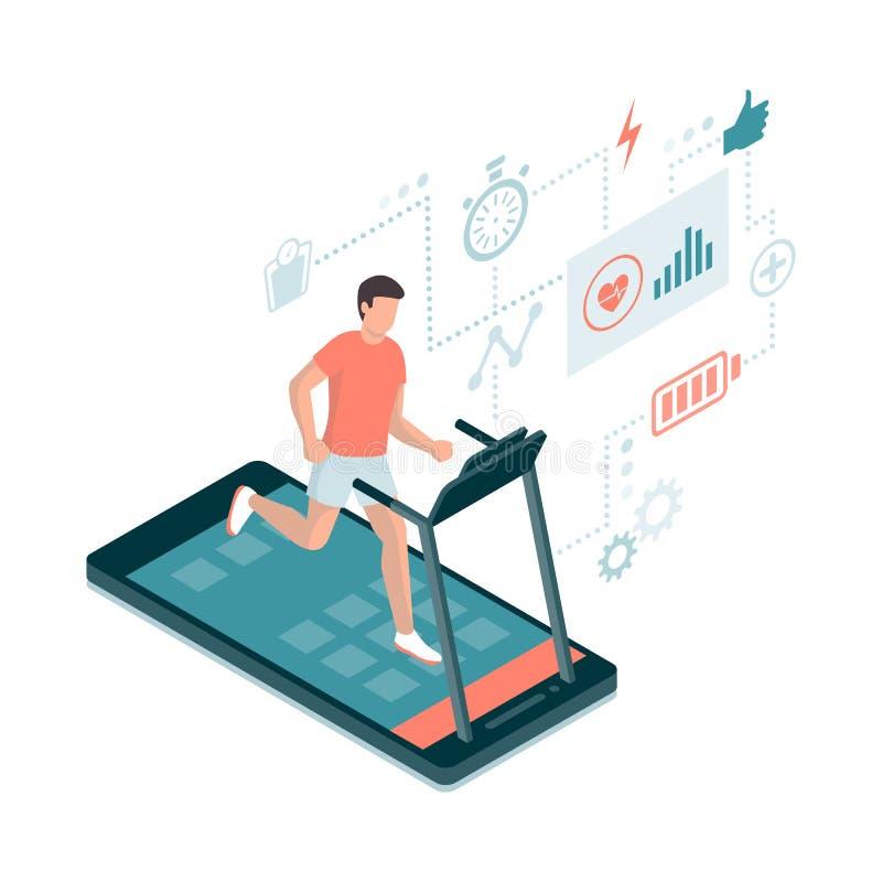 Fitness en sporten app stock illustratie