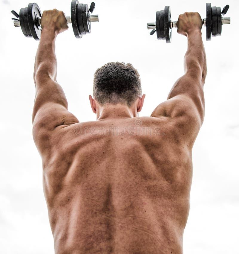 Fitness en sportmateriaal Gezonde Levensstijl Atletisch lichaam Domoorgymnastiek het gewichtheffen van de mensensportman stero?de royalty-vrije stock foto's