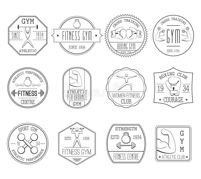 Fitness en van het sportenembleem reeks stock illustratie