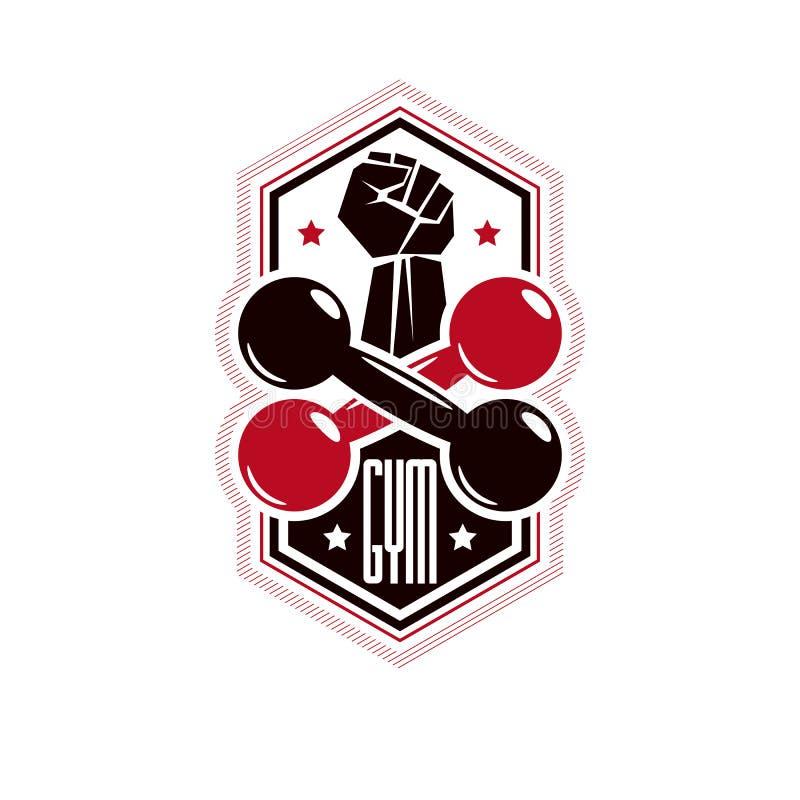 Fitness en zwaargewicht retro de club logotype malplaatje van de gymnastieksport, stock illustratie