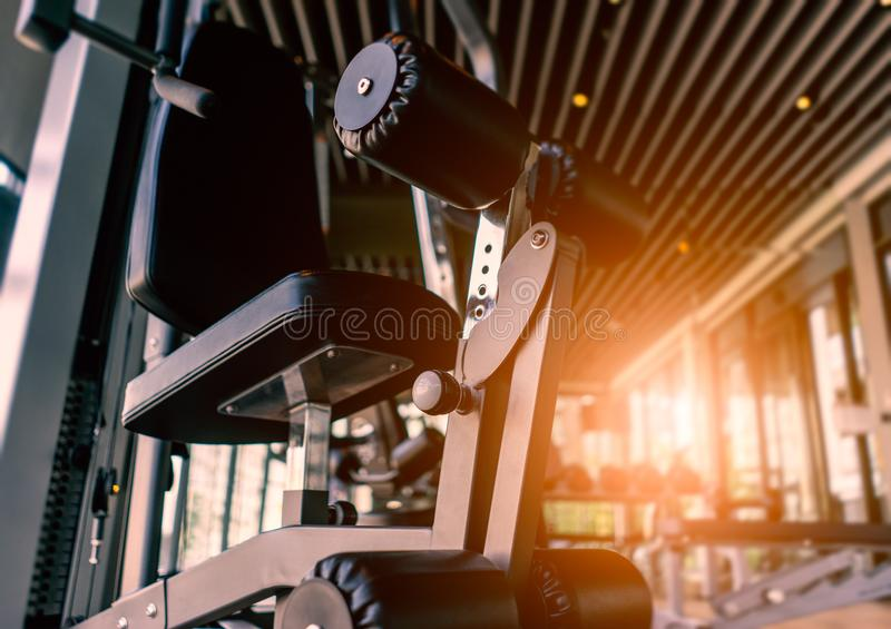 Fitness equipment in fitness room stock images