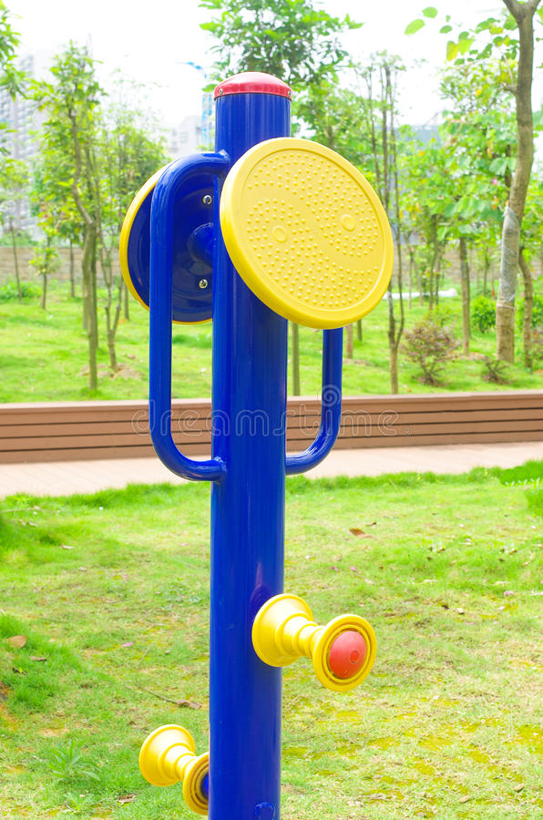 Fitness equipment. On the grass royalty free stock photo