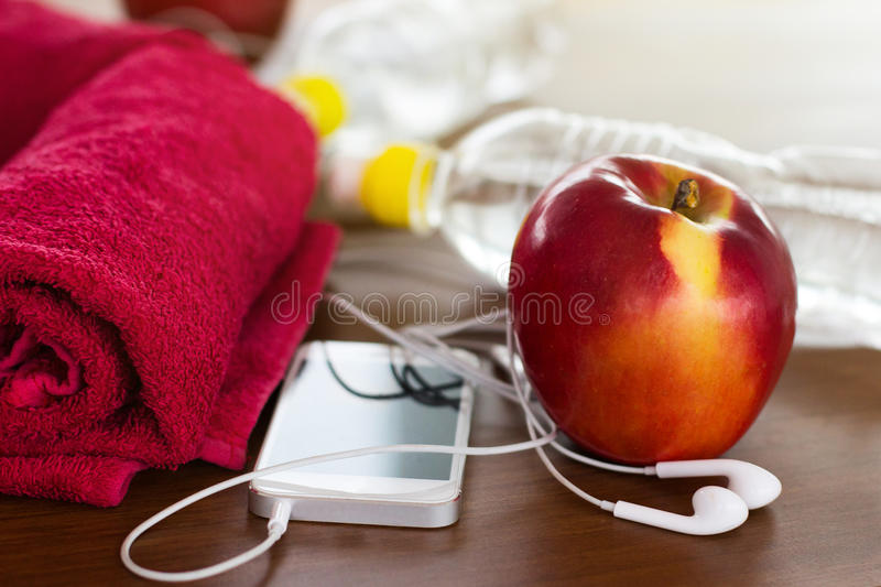 Fitness equipment and healthy nutrition royalty free stock photography