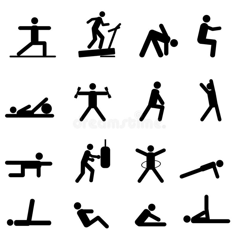 Fitness and exercise icons stock illustration