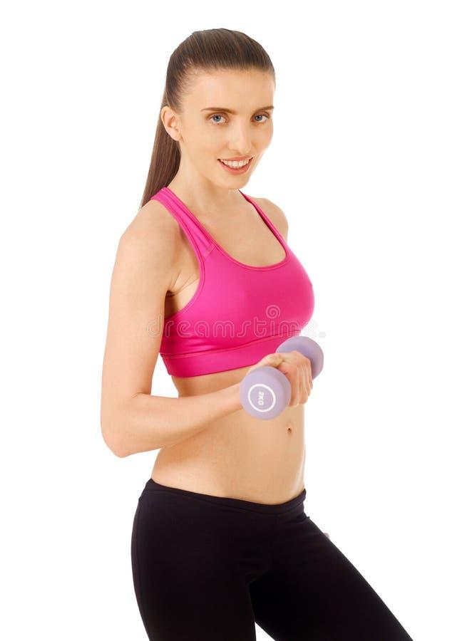 Fitness exercise on white stock photos