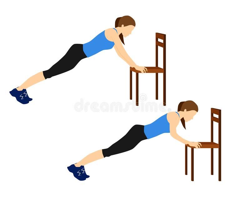 Fitness exercises for your better workout - chair push ups stock image