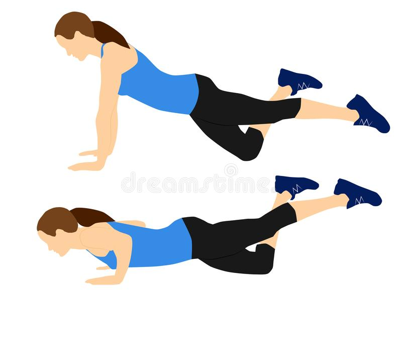 Fitness exercises for your better workout - knee push ups stock images