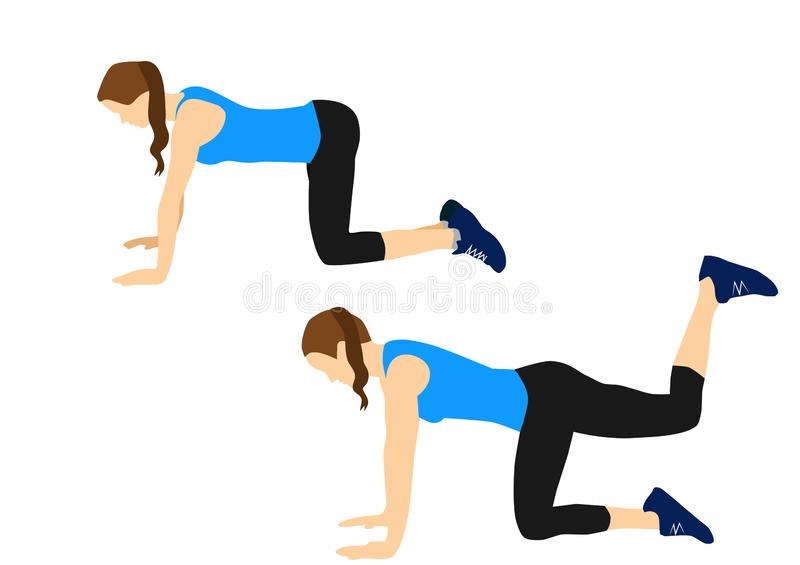 Fitness exercises for your better workout - donkey kicks stock photos