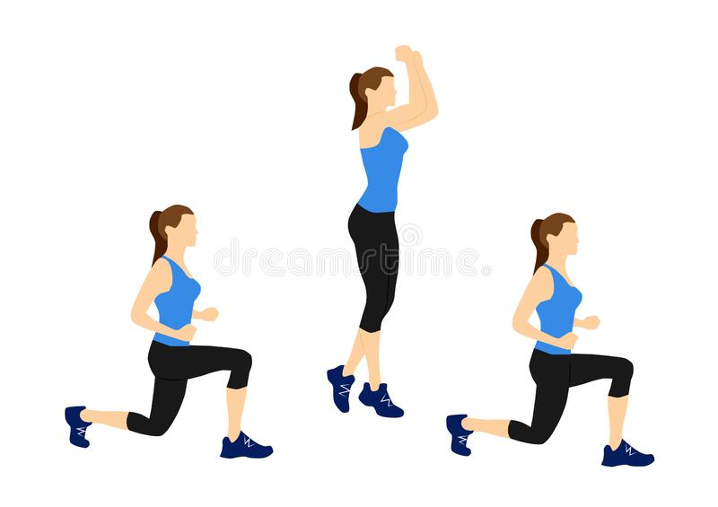 Fitness exercises for your better workout - jump lunges stock images