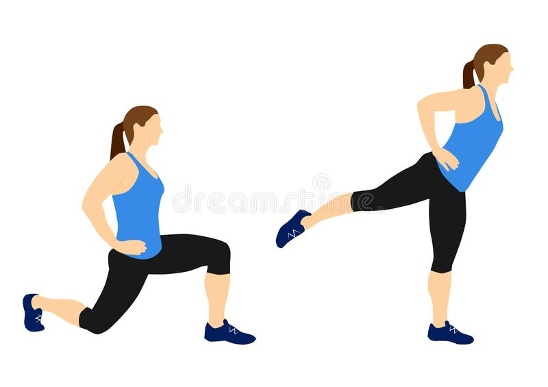 Fitness exercises for your better workout - lunges stock images