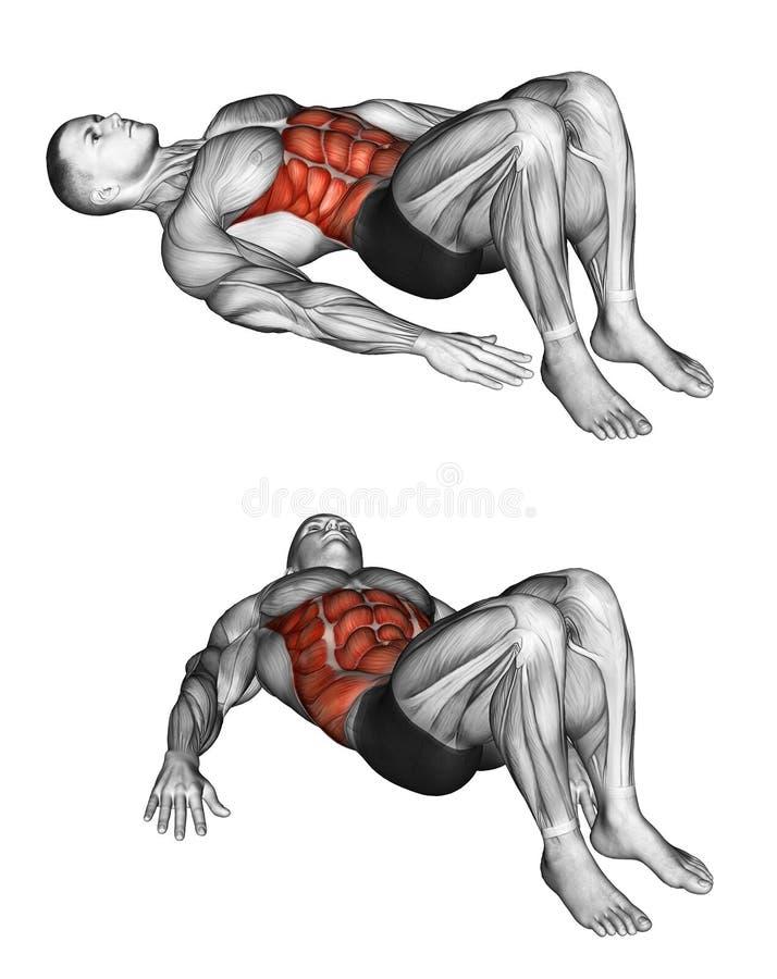 Fitness exercising. Alternate Heel Touchers stock photos