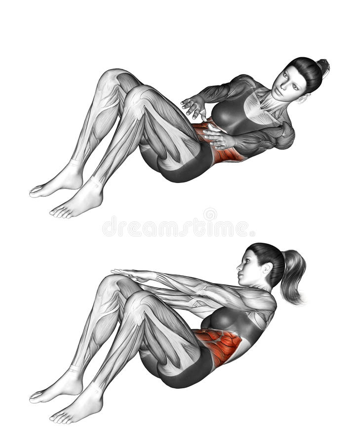 Fitness exercising. Alternate Reach and Catch. Female. Alternate Reach and Catch. Exercising for Fitness. Target muscles are marked in red. Initial and final stock illustration