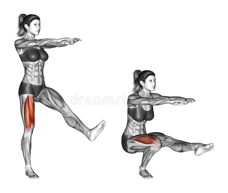Fitness exercising. Pistol Squat. Female stock photo
