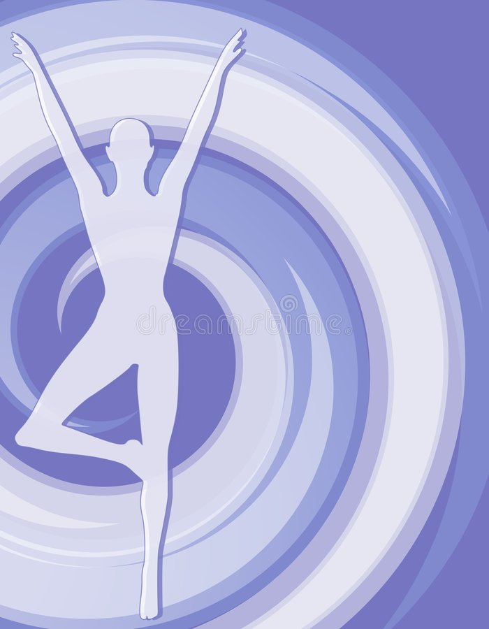 Fitness Female Silhouette Blue 2. A background illustration featuring the silhouette of a woman in a fitness pose with blue toned spiral swoosh vector illustration