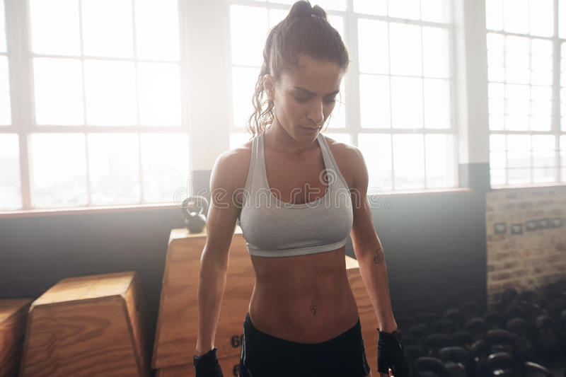 Fitness female standing in the gym. Portrait of strong young female in sportswear standing in the gym. Fitness woman in sportsbra looking down stock photos