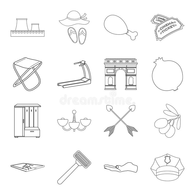 Fitness, fishing, history and other web icon in outline style.lighting, technology, security icons in set collection. Fitness, fishing, history and other icon vector illustration