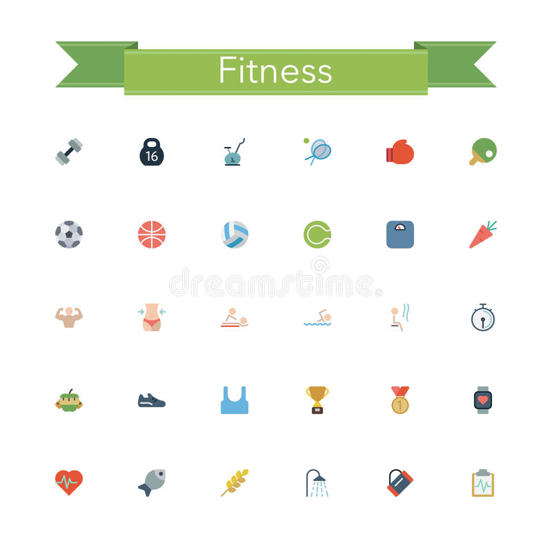 Fitness Flat Icons royalty free illustration