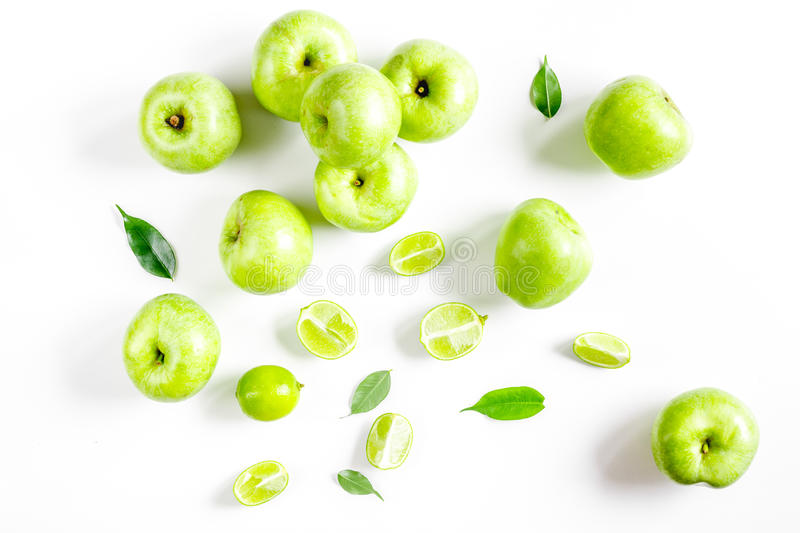 Fitness food with green apples on white background top view. Fitness food with fresh green apples on white background top view stock photography