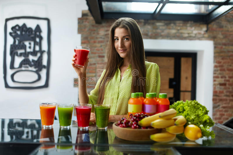 Fitness Food, Nutrition. Healthy Eating Woman Drinking Smoothie. Fitness Food. Healthy Eating Woman On Diet Drinking Fresh Detox Juice, Smoothie For Breakfast stock photos