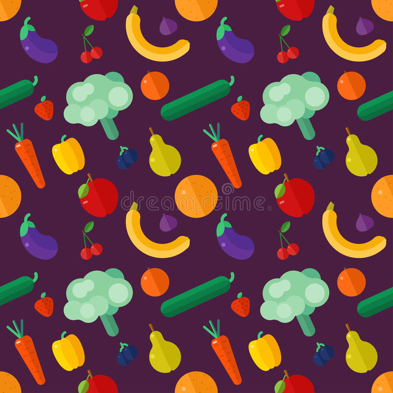 Vegetables and fruits, flat. Seamless pattern. Vector illustration stock image
