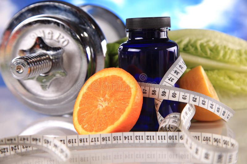 Fitness fruits and vitamins royalty free stock photography