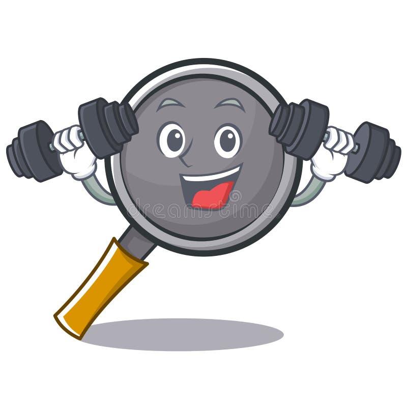 Fitness frying pan cartoon character. Vector illustration stock illustration
