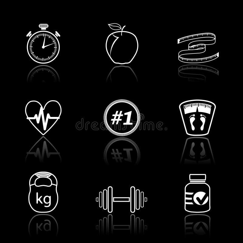 Fitness Geplaatste Sportpictogrammen Vector Illustratie