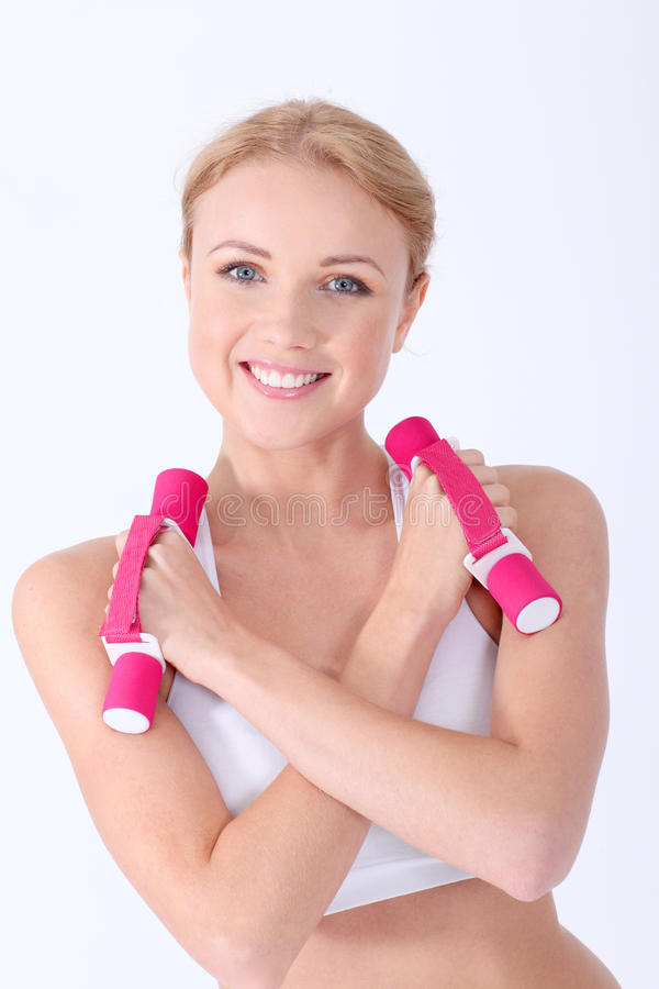 Download Fitness girl stock image. Image of isolated, weights - 22464061