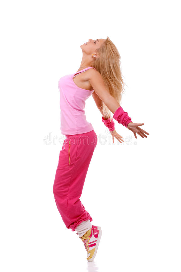 Fitness girl in action stock images