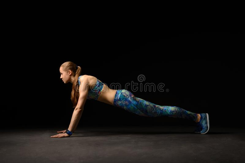 Fitness girl in blue royalty free stock photography