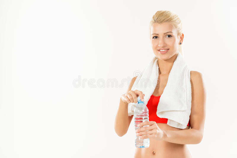 Fitness Girl With Bottle Of Water stock photos