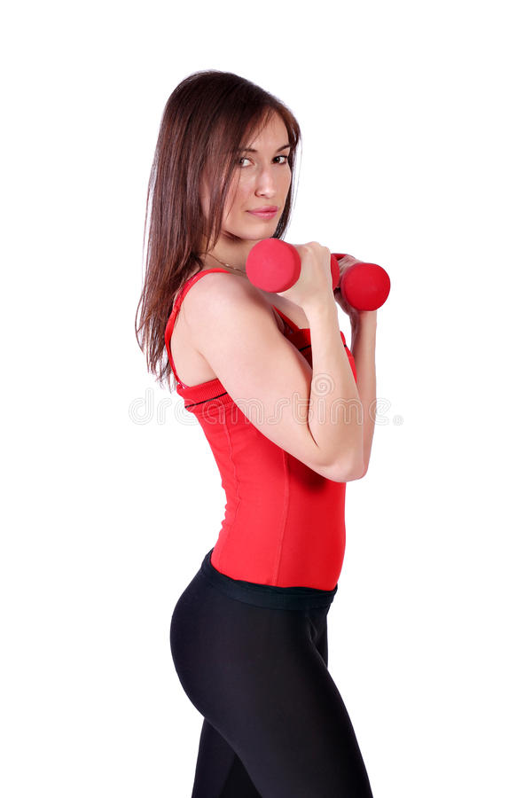 Download Fitness Girl With Dumbbells Stock Photo - Image: 24624856