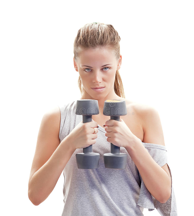 Download Fitness Girl With Dumbbells Stock Image - Image: 26187535