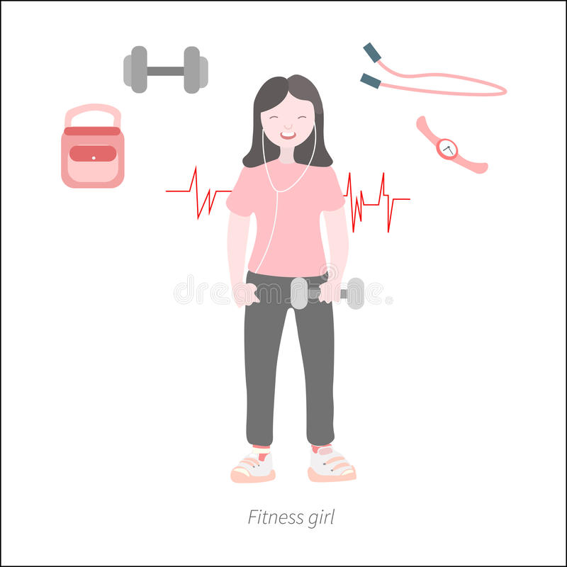 Fitness girl flat cartoon stock photography