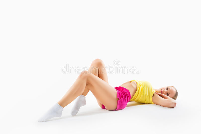 fitness girl, full length portrait sport young woman with perfect body, studio shot royalty free stock photography