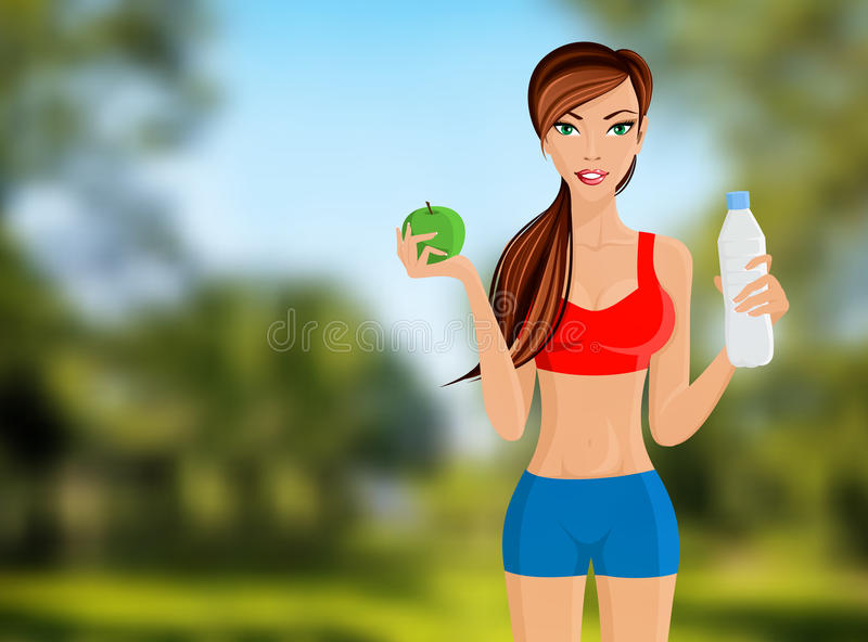 Fitness girl portrait. Young slim sport fitness girl with apple and water bottle portrait on outdoor background vector illustration vector illustration