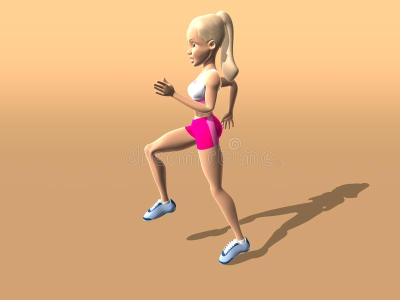 Download Fitness girl running stock illustration. Image of conceptual - 1595328
