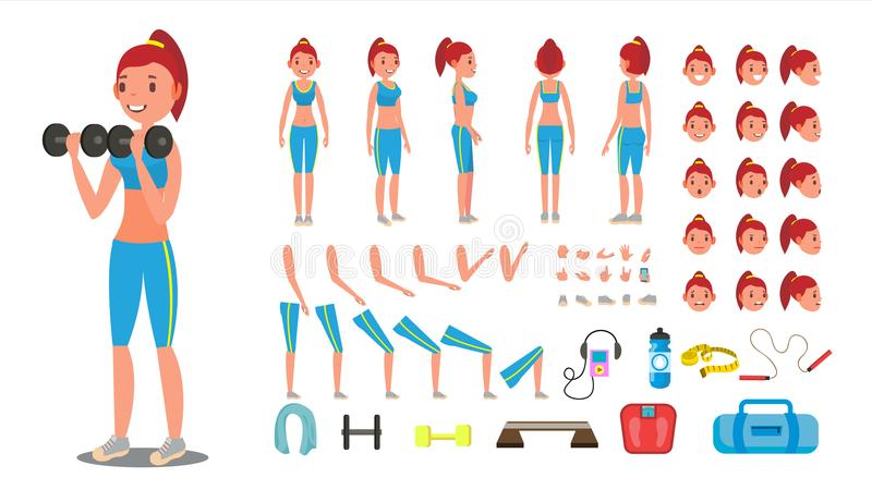 Fitness Girl Vector. Animated Sport Female Character Creation Set. Full Length, Front, Side, Back View, Accessories royalty free illustration